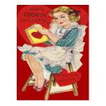Vintage Retro Woman Cooking Valentine Card Postcards