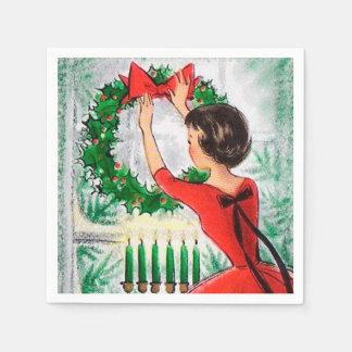 Vintage retro woman wreath Christmas party napkins Disposable Napkin