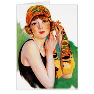 Vintage Retro Women 20s Deco Flapper Girl Pin Up Card
