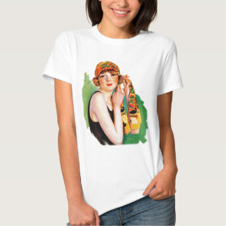 Vintage Retro Women 20s Deco Flapper Girl Pin Up Shirt