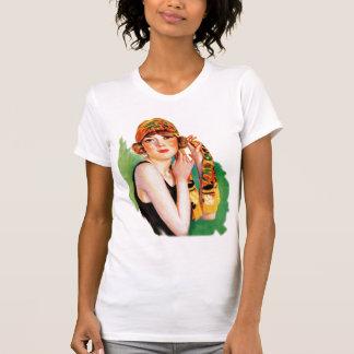 Vintage Retro Women 20s Deco Flapper Girl Pin Up Tshirt