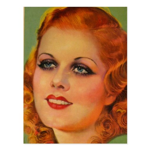 Vintage Retro Women 20s Movie Star Cover Girl Post Card
