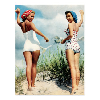 Vintage Retro Women 60s Surfing Beach Girls Postcard