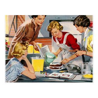 Vintage Retro Women Ad Let's Bake a Cake Postcard