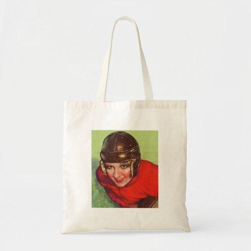 Vintage Retro Women Football Gridiron Girl Canvas Bag