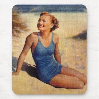 Vintage Retro Women Forties Swim Suit Beauty Mouse Pad