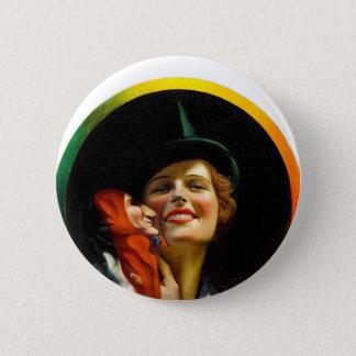 Vintage Retro Women Jester Puppeteer Woman 6 Cm Round Badge