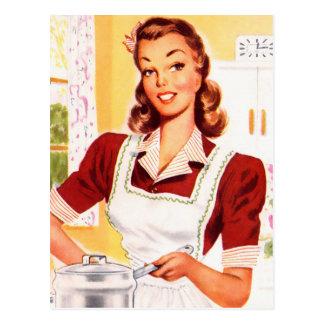 Vintage Retro Women Kitsch 50s Kitchen Magic Postcard