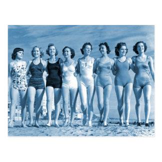 Vintage Retro Women Kitsch Surfing Beach Nuts Postcard