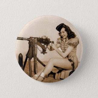 Vintage Retro Women Machine Gunner Girl 6 Cm Round Badge