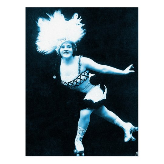 Vintage Retro Women Rollerskating Queen Postcard