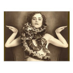 Vintage Retro Women Sideshow Snake Charmer Postcards