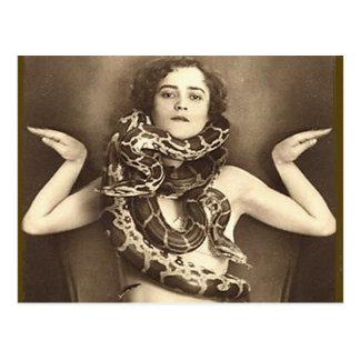 Vintage Retro Women Sideshow Snake Charmer Postcard