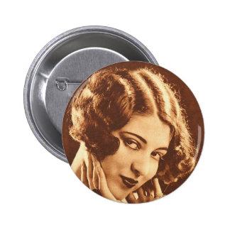 Vintage Retro Women Silent Film Star 6 Cm Round Badge