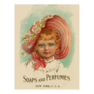 Vintage Retro Women Soaps & Perfumes Girl Postcard