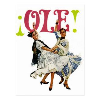 Vintage Retro Women Spainish Flamenco Dancers Ole! Postcard