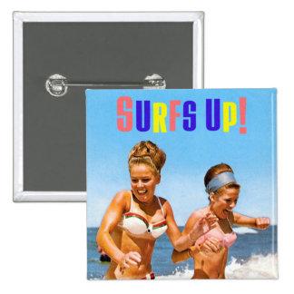 Vintage Retro Women Surfs Up Beach Girls 15 Cm Square Badge