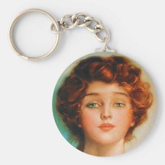 Vintage Retro Women Thirties Beauty Portrait Basic Round Button Key Ring