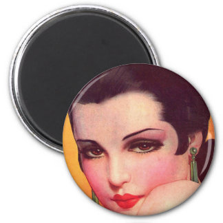 Vintage Retro Women Twenties Pin Up Vamp 6 Cm Round Magnet