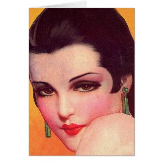 Vintage Retro Women Twenties Pin Up Vamp Greeting Card