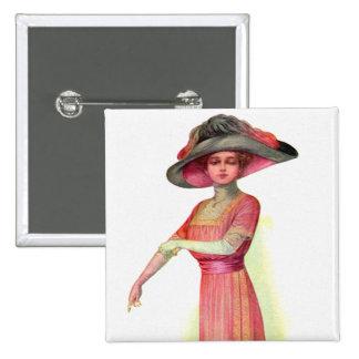 Vintage Retro Women Woman Fashion Department Pinback Buttons