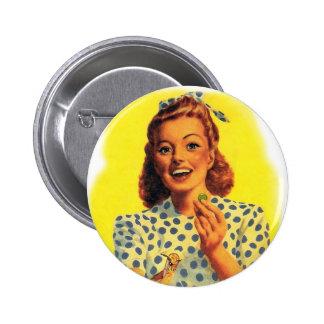 Vintage Retro Women Woman Gum Drop Girl 6 Cm Round Badge