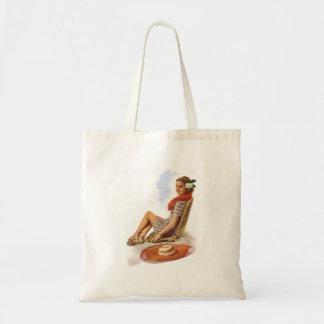Vintage Retro Women Woman Hawaii Vacation Tote Bag