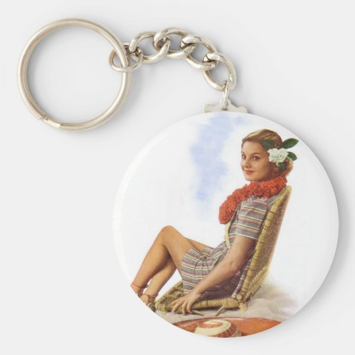 Vintage Retro Women Woman Hawaii Vacation Key Chain