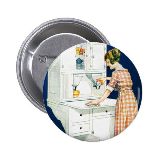 Vintage Retro Women Woman House Cleaning Buttons