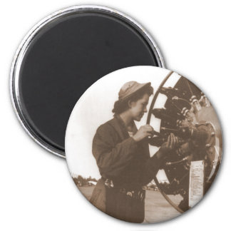 Vintage Retro Women Working in America USA 6 Cm Round Magnet