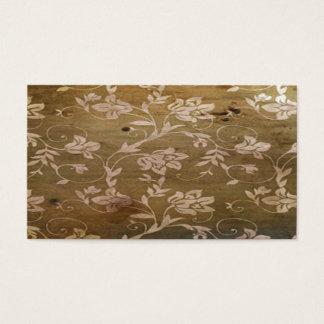 Vintage Retro Wood with Elegant Flowers Business Card