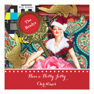 Vintage Retro Xmas 13 Cm X 13 Cm Square Invitation Card