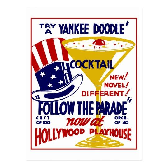 Vintage retro Yankee Doodle cocktail Postcard