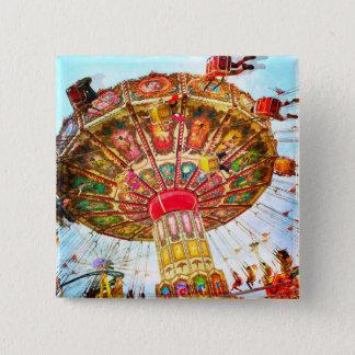 Vintage retro yellow carnival swing ride photo 15 cm square badge