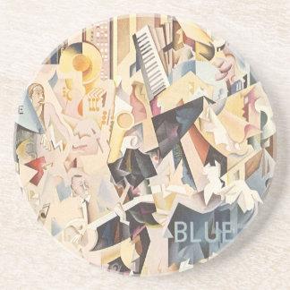 Vintage Rhapsody in Blue Art Deco Jazz Music Drink Coasters