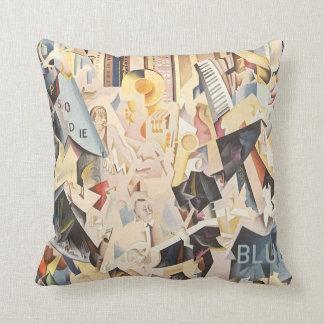 Vintage Rhapsody in Blue Art Deco Jazz Music Pillow