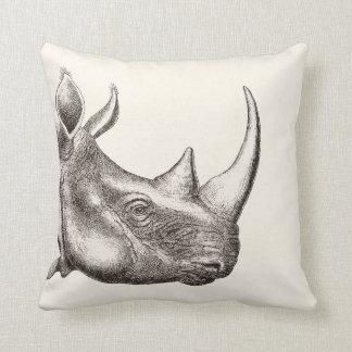 Vintage Rhino Illustration Cushion