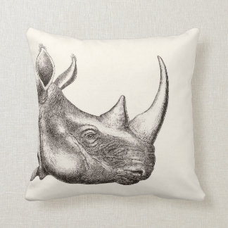 Vintage Rhino Illustration Throw Pillow