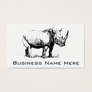 Vintage Rhinoceros Illustration, Animal Business Card