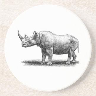 Vintage Rhinoceros Illustration Rhino Rhinos Coaster