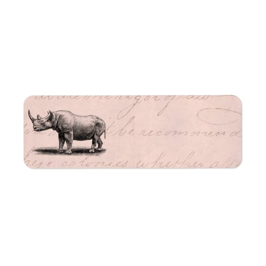 Vintage Rhinoceros Illustration Rhino Rhinos Pink Return Address Label