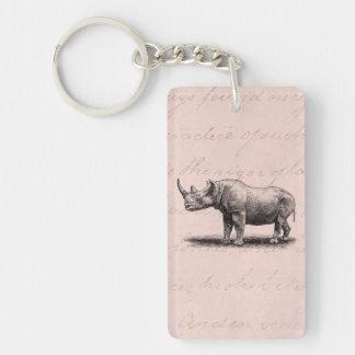 Vintage Rhinoceros Illustration Rhino Rhinos Pink Single-Sided Rectangular Acrylic Key Ring