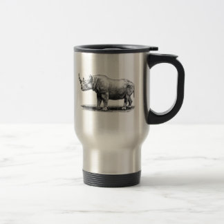 Vintage Rhinoceros Illustration Rhino Rhinos Travel Mug