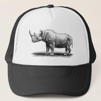 Vintage Rhinoceros Illustration Rhino Rhinos Trucker Hat