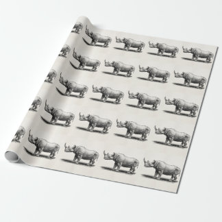 Vintage Rhinoceros Illustration Rhino Rhinos Wrapping Paper