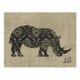 Vintage Rhinoceroses Silhouette  Monogram Postcard