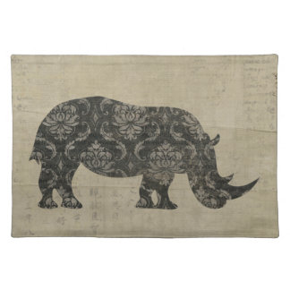 Vintage Rhinoceroses Silhouette Placemat