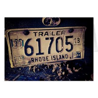 Vintage Rhode Island License Plate Greeting Card