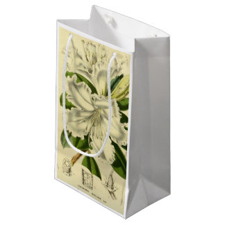 Vintage rhododendron white gift bag