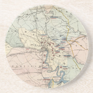 Vintage Richmond Virginia Civil War Battles (1864) Sandstone Coaster